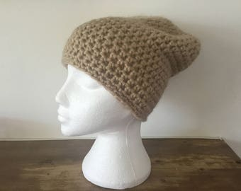 Soft and lightweight beanie using a gold chunky yarn