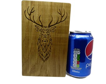 Oak dice tower and tray with stag motif