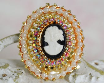 Vintage Cameo Brooch with AB Rhinestones and Faux Pearls