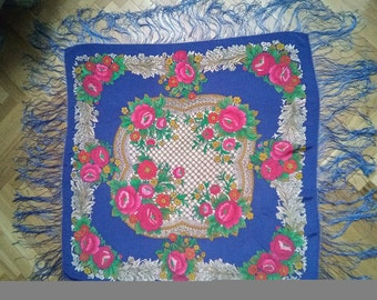 Russian Style big silk Pink roses Floral blue Shawl with tassels