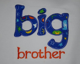 Big Brother T-shirt with stars, royal  blue and orange, space themed, custom made