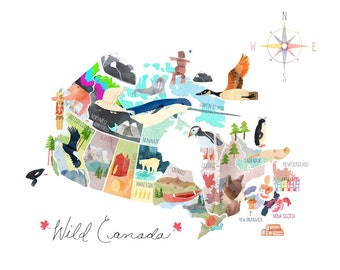 Map of Canada Illustrated Canada Map Large Standard 16 x 20 or 18 x 24 12 x 18 unframed formats.