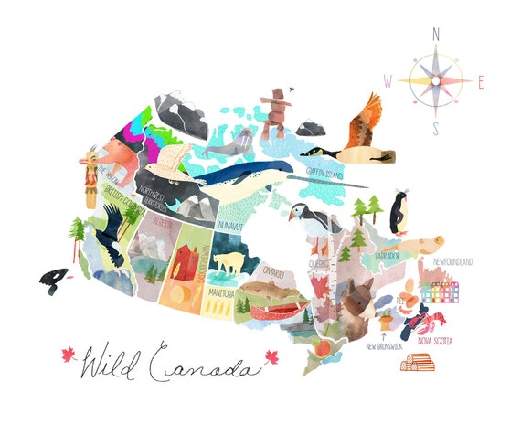 map of canada illustrated canada map large standard 16 x 20 or