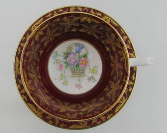 Vintage Tea Cup and Saucer, Red and Gold with Flower Basket, Made by Gladstone, English Bone China