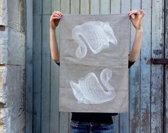 swan linen tea towel, bird screen print tea towel, vintage swan vase printed tea towels in natural linen, dish cloth