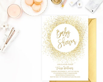 Gold Baby Shower Invitation Printable, Baby Shower Invitation Gender Neutral, Gold Glitter Baby Shower Invitation, Gold Baby Shower Invite