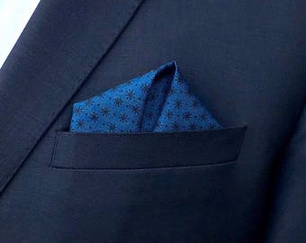 Blue Asterisk Pocket Square