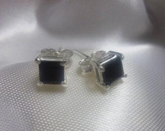 Square Black Onyx, Silver Stud Earrings
