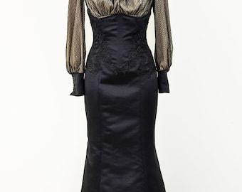 Edwardian style costume, underbust corset skirt, lace shirt, Downtown Abbey dress, historical reenactment, LARP, mermaid skirt, Victorian
