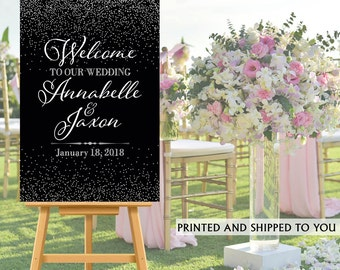 Welcome to Our Wedding Sign - Black and Silver Sparkle Bride and Groom Sign- Reception Sign Printed Wedding Ceremony Sign