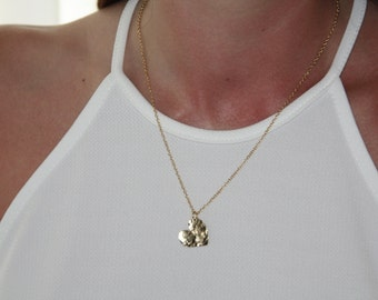 Heart Necklace, Gold Heart Jewelry, Hammered Heart Necklace, Romantic Gold Necklace, Romantic  Gift, Gift For Her, Lover Gift Ideas, Minimal