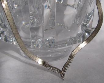 "Elegant Wide Silver Herringbone Necklace with Rhinestone ""V"" Center, 18"", Bridal"