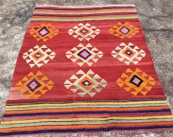"Vintage Turkish kilim rug, 72"" x 58"", red area rug, kilim rug, kelim rug, vintage rug, bohemian rug, Turkish rug, small rug, small kilim,141"