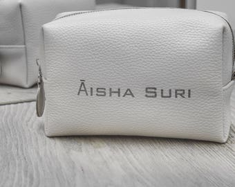 leather make up bag makeup bag personalized make up bag leather cosmetic bag bridesmaid gift gift for her leather toiletry bag birthday gift