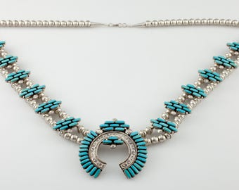 Navajo Turquoise & Sterling Silver Naja Necklace