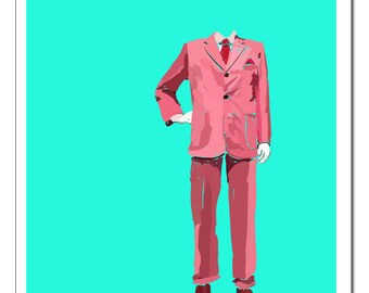 Man in Suit Illustration-Pop Art Print