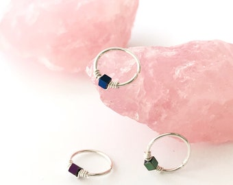 Unique helix hoop ring earring, Beaded cartilage piercing jewelry, Sterling silver, Tragus Conch, Choice of metallic purple blue or green