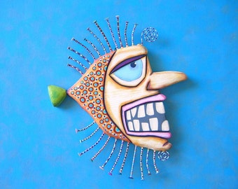 Frankenfish, Original Found Object Wall Sculpture, Wood Carving, Wall Decor, Fish Wall Art, by Fig Jam Studio