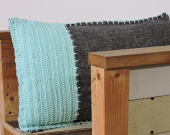 SALE, jade crocheted pillow, moving blanket with crocheted front