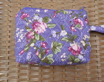 Quilted Purple Floral Square Wristlet