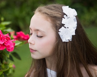 White Satin & Organza Floral Hair Comb - First Communion Hair Comb, Special Occasion Hair Comb, Flower Girl Headpiece, Communion Headpiece
