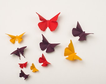 3D Wall Butterflies: Butterfly Wall Art for Nursery, Girl's Room, Classroom or Home Decor - Autumn Flight in Squash, Ruby & Plum