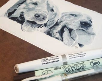 Stylized Pet Portraits in Black and White on Yupo Paper and with Archival Inks