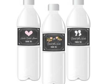 Custom Wedding Water Bottle Label-Personalized Bridal Shower Labels-Chalkboard Water Bottle Labels (set of 24)