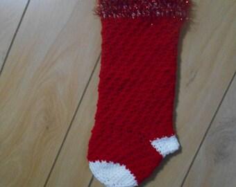 Hand crochet red Christmas stocking.