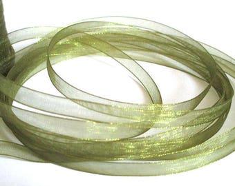 15 m 6mm olive green organza Ribbon