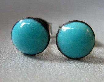 Robins Egg Blue Enamel Mini Dot Stud Post Earrings, Kiln-fired Glass Enamel and Sterling Silver