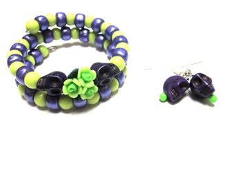 Sugar Skull Bracelet And Earring Set Day Of The Dead Purple Green Flower