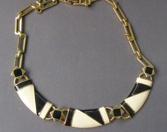 Vintage Monet Enamel Necklace, Spectator Necklace, Black Cream Jewelry, Bold Vintage jewelry, Status Link Necklace