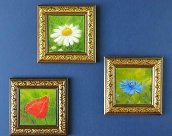 Set of 3 wall art Flower art Ready to hang Original painting Poppy Daisy Cornflower Room decor Nursery girls room wall art Housewarming gift