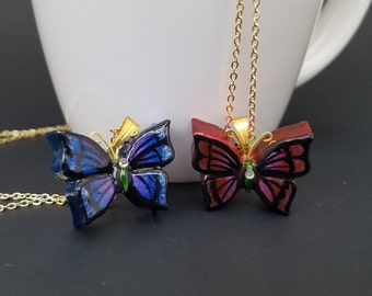 Gold Metallic Monarch Butterfly Necklace
