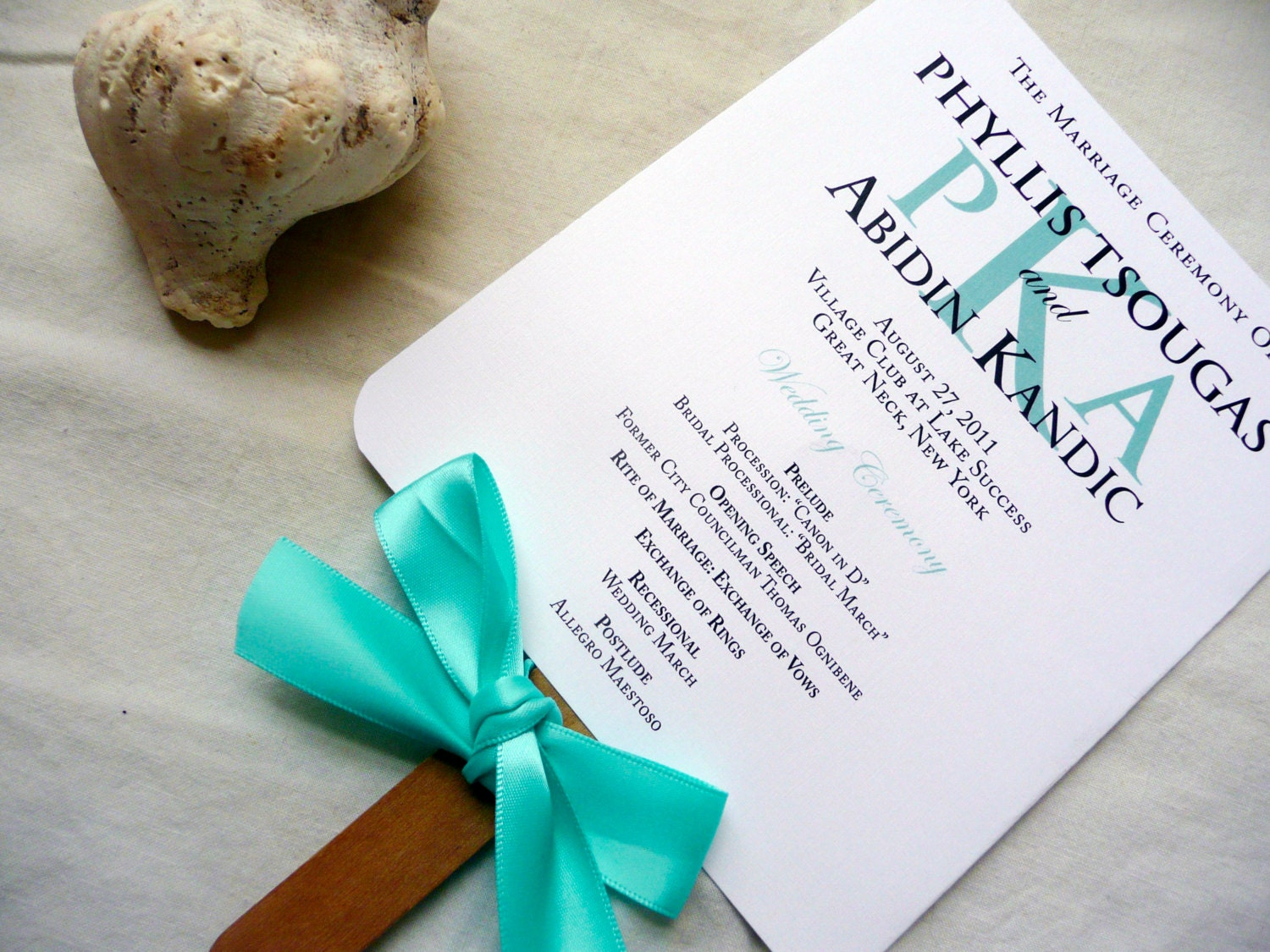 Wedding Program Fans Beach Turquoise Blue