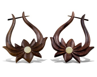 NEW -Stick Earrings,  Wooden Post Earrings - Lotus Hoops with Mother of Pearl