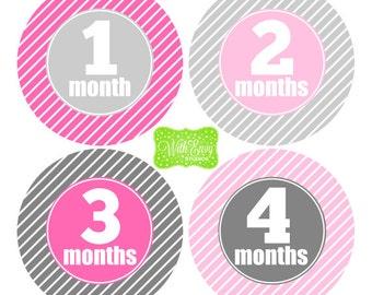 Baby Girl Milestone Stickers - Baby Girl Monthly Stickers - Stripe Baby Stickers - Baby Girl Growth Stickers - Girl Milestone Stickers - 037
