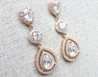 Cubic Zirconia Pavé Rose Gold Extra Long Dangling Bridal Post Earrings, Faux White Diamond Halo Wedding Jewelry, Surgical Steel Posts