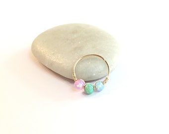 Tiny Hoop Earring, Cartilage Earring, Gold Helix Earring, Cartilage Hoop Helix Ring, Opal Helix Earring Gold Cartilage Hoop Helix Earrings