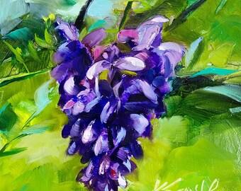 wisteria art | wisteria painting | floral art | floral wall decor | botanical painting | wall art | floral wall art | purple floral art