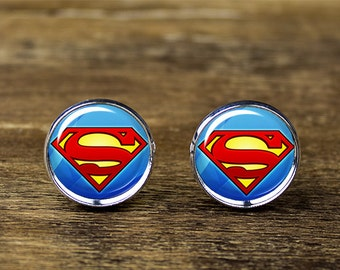 Superman cufflinks, superman jewelry, superman accessories