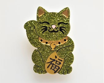 Maneki Neko Good Fortune cat brooch