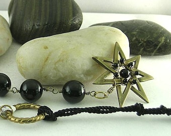 Black Onyx Paternoster - Wire-wrapped Cleves 7-Pointed Star