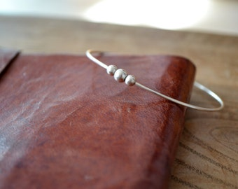 Sterling silver bangle/bracelet with three sterling spheres