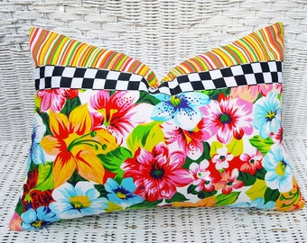 Country Floral Pillows, Colorful Spring Pillow, Yellow Pink Blue, Black White Check, Citrus, Whimsical, Eclectic, Cottage Decor, 14x20