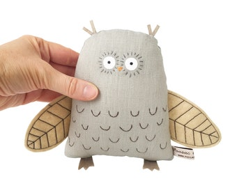 Owl soft sculpture, hand-embroidered art doll, woodland creature, handmade toy owl, plush doll, owl stuffed animal, Poosac