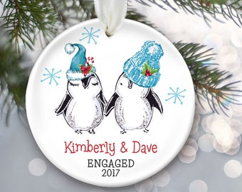 Penguin Couple Personalized Christmas Ornament Engaged Ornament Couple's Gift for First Christmas Married or a Together ornament OR868