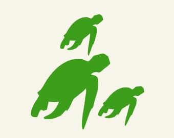 Sea Turtle Wall Decals Vinyl Sticker set Nautical beach kids rooms bathroom decor
