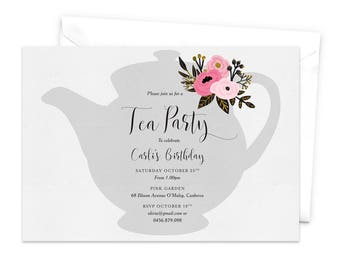 Printable Tea Party Invitation Bridal Tea Party Invitation